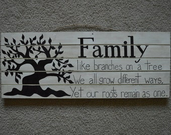 Family Tree - hand painted wooden sign