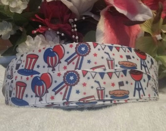 "3 yards, 7/8"" 4th of July grosgrain ribbon"