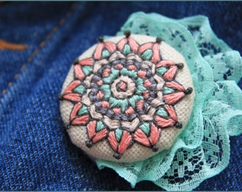 "Mandala Brooch ""Lightness""- fabric brooch - fabric pin - textile brooch - stitched brooch - hand embroidery"
