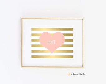 Love Printable Wall Art, Gold, Pink Heart Wall Art