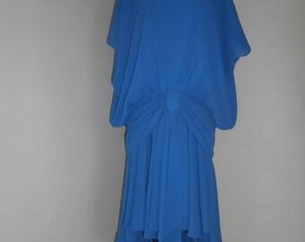 Vintage 1980s Trina Lewis Asymmetric Dress size 14(uk)12(usa)