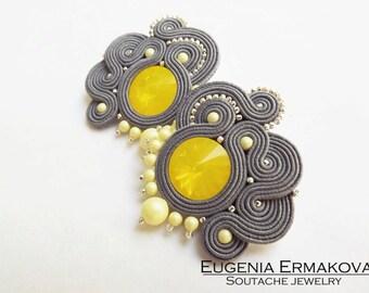 Soutache earrings Swarovski Grey yellow soutache earrings Soutache jewelry Stud earrings soutache Small soutache earrings lemon yellow grey
