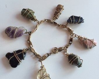 Vintage 1960's Wire Wrapped Gem Bracelet
