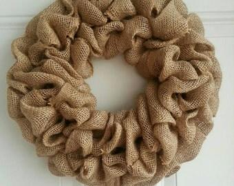 "15"" plain rustic burlap jute wreath.Great for all seasons!"