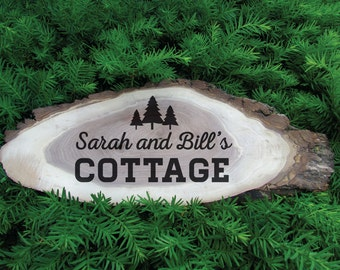 Custom Rustic Cabin Sign, Lake house Sign, Cottage Sign, Trailer Sign, Outdoor Custom Name Sign, Wood Slice sign, cottage decor