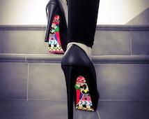 High Heel Shoes - Colorful Aztec Shoe With Parrot Design - Hand Painted Heels - Black Platform heels - Custom Heels - High Heels