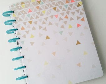 Happy Planner Cover - Geometric Neon Triangle Gradient Pattern with Gold Foil