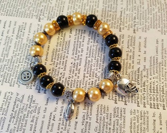 Steelers Black and Gold Beaded Charm Bracelet
