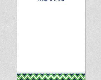 Blue and Green Chevron Personalized Notepad
