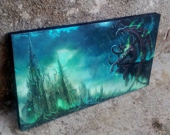 World of Warcraft, WoW, Illidan Stormrage, Gaming, Art Print, Wall Art, Wall Decor, Handcrafted from recycled chipboard, Geek decor, Gaming