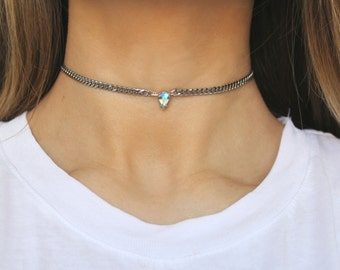 Tear Crystal Choker - Swarovski Crystal Curb Chain Stainless Steel Necklace