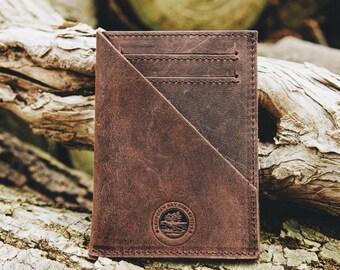 Coastal Pocket Wallet ~ Vintage Rustic Handcrafted ~ Genuine Leather ~ Slim ~ Money Clip Pouch ~ Canada ~ Georgian Bay Collective