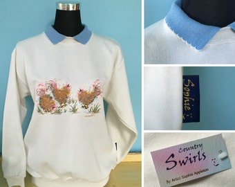 Bird Sweater , winter white sweater , with collar , chicken Trio Embroidery designed by artist Sophie Appleton Country Swirls. British made.