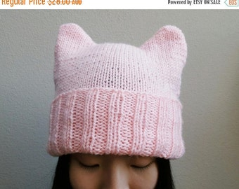 Winter Sale Knitted Ears Beanie -- Pink