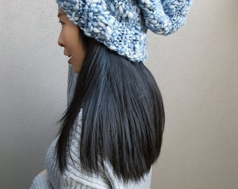 Knit Slouchy Hat- Chunky Hat- Slouchy beanie-Blue beanie