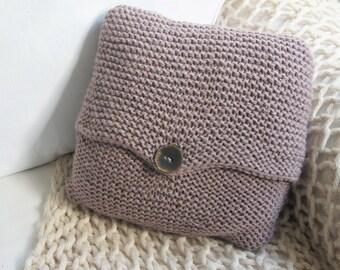 Dark beige knit cushion