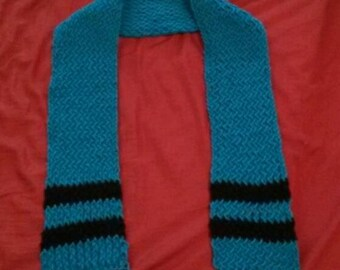 Blue/Black Loom-Knit Scarf