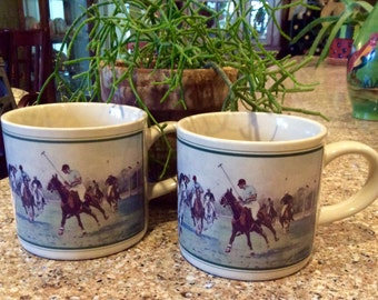 Vintage Ralph Lauren Polo Mugs Set of Two, Vintage Polo Coffee Mugs, Polo Ponies Coffee Mugs