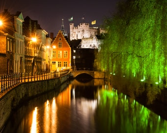 Greeting card_012 - Historical Ghent by night with Gravensteen