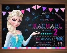 Frozen Birthday Invitation, Frozen Birthday Party, Frozen Invitation, Frozen Birthday Invitation, Digital Invitation, Frozen Chalkboard b7