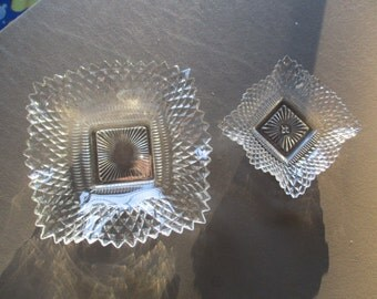 pair of square glass dishes