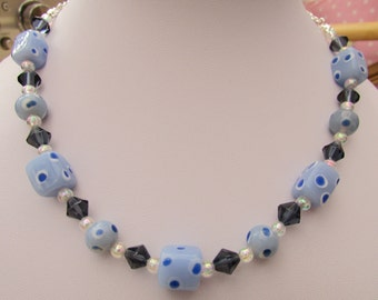 Blue and white spotty bead necklace