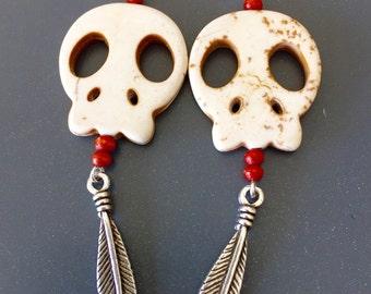 Howlite skulls earrings