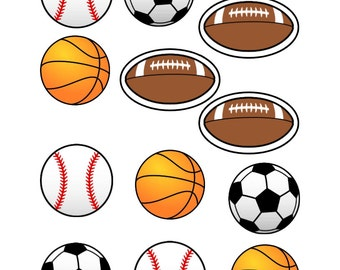 Edible Sports Balls Cupcake Toppers
