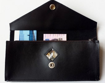 leather wallet with see through black