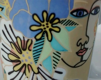 Vtg 1995 Laurel Burch Coffee Mug Cup The Spirit of Womankind Henriksen Interart