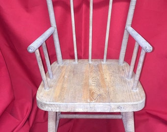 """Antique """"Threaded Wood Dowel"""" Child's Chair, Sturdy"""