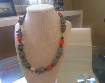 """Beautifully made necklace (20"""") with multi color pieces"""