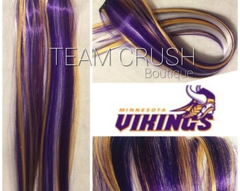 "MINNESOTA VIKINGS 18"" Clip-In Hair Extension Set - 4 PIECES!"