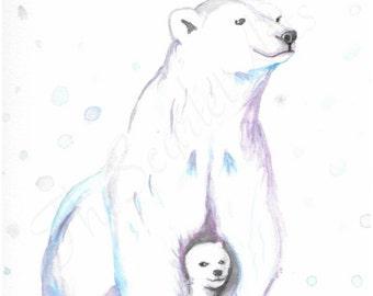 Polar Bears, watercolor