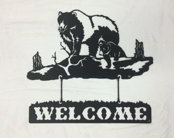 Metal Bear Welcome Sign