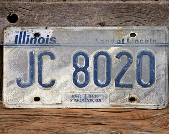 Illinois License Plate Number JC8020 Land of Lincoln Vintage IL Car Tag