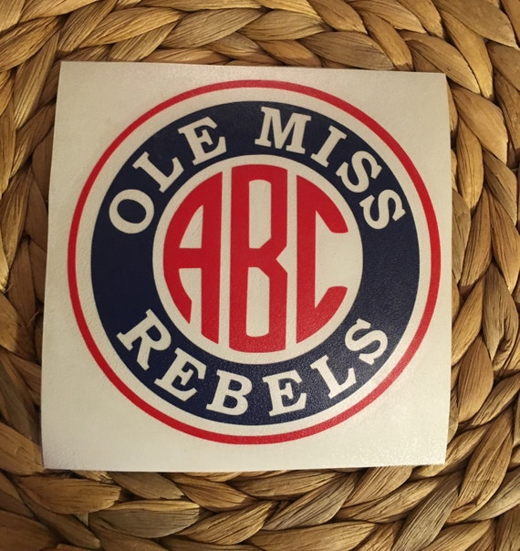 Ole Miss Rebels Monogrammed Vinyl Decal By Miltonmonograms