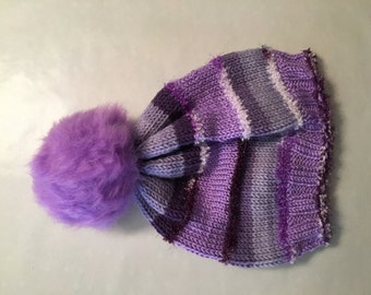 Hand Knitted Purple Beanie