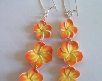 Orange Frangipani Plumeria Earrings