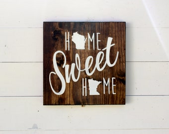Choose Two States | Home Sweet Home Rustic Wood Sign | Gift for Her | Long Distance | Housewarming | Wedding Gift | Best Friends | Entryway