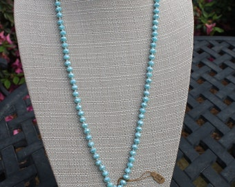 Light blue long necklace