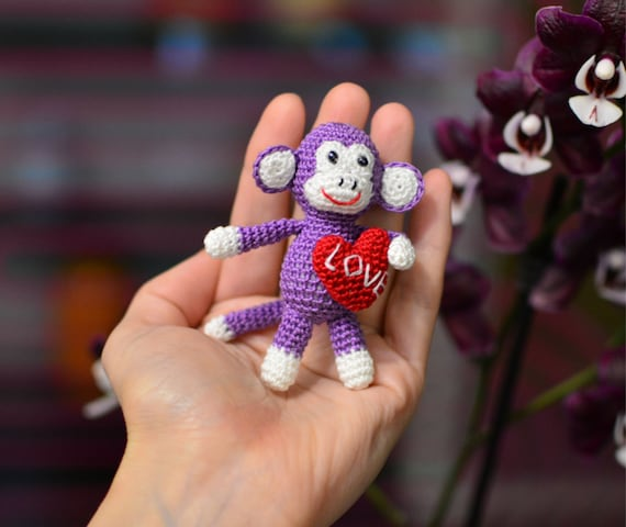 Kawaii keychain Amigurumi Monkey toy stuffed monkey Purple