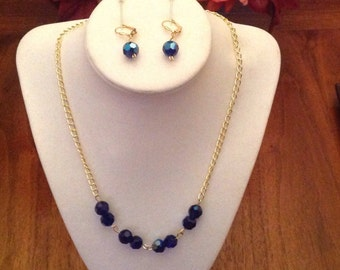 Blue crystal beads necklace plus earrings to match