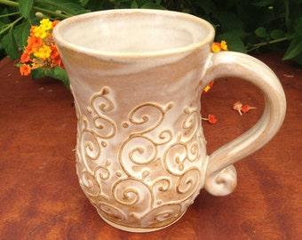 Slip trailed, Cream Colored swirly curly Q Mug