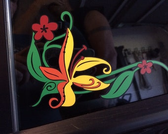 Tiger Lily Flower Car Decal - Vinyl