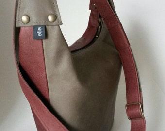 Two-color leather shoulder bag