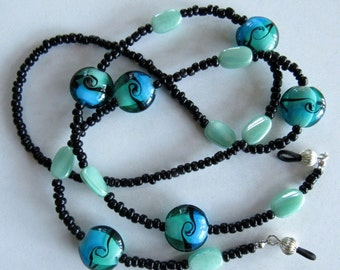 Blue Green and Black Beaded Eyeglass chain, leash, or holder