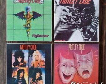 Motley Crue Stone Coaster Set, Handmade Stone Tile, 80s Rock N Roll Decor Print Design, Nikki Sixx, Dr. Feelgood Album Cover Art, Man Cave