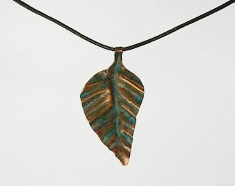copper neklace pendant leaf verdigris patina blue green