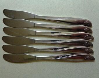 Vintage Oneida Twin Star Stainless Flatware 6 Butter Spreader Knives Knife